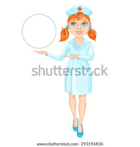 Redhead nurse pointing on something by her hands / There is a redhead nurse with ponytails wearing a blue suit. She stands straight and pointing by her both hands on something on the left  - stock vector