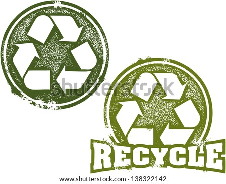 Reduce Reuse Recycle Rubber Stamp Imprint - stock vector