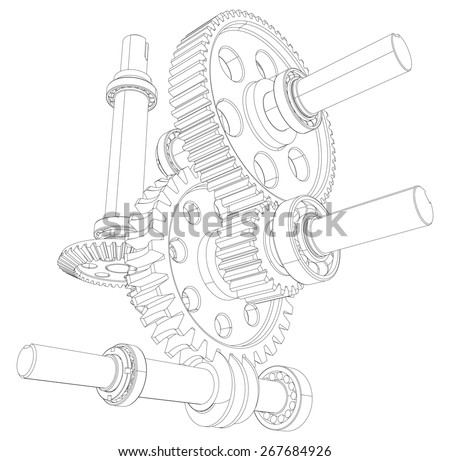 Reducer consisting of gears, bearings and shafts. Vector illustration, 3d render - stock vector