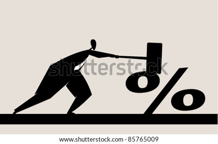 reduction of interest - stock vector