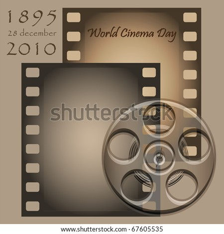 Reel and film on a grey background - stock vector