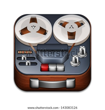 Reel to reel tape recorder app icon - stock vector