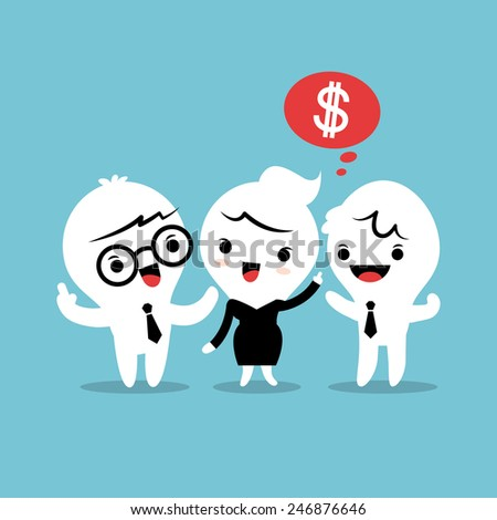 refer a friend referral cartoon concept illustration - stock vector