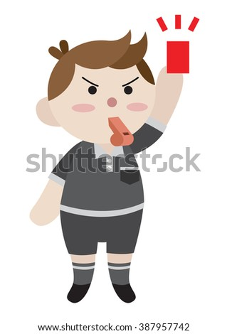 referee hold red card cartoon vector - stock vector