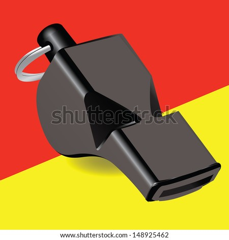 Referee kit Soccer whistle with a yellow and red cards. Vector illustration. - stock vector
