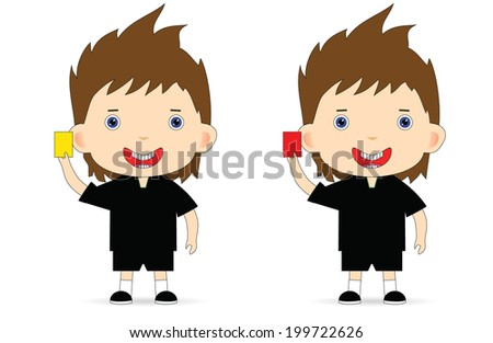 Referee with a yellow and a red card. Vector. - stock vector