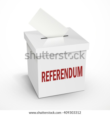 referendum word on the 3d illustration white voting box isolated on white background - stock vector