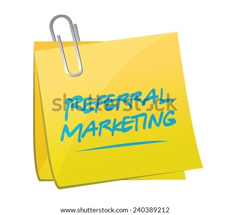 referral marketing memo post illustration design over a white background - stock vector