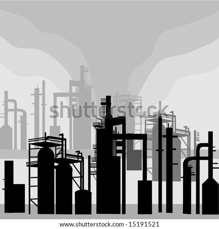 Refinery Environment silhouettes is original artwork. The vector file is in AI-EPS 8 format. - stock vector