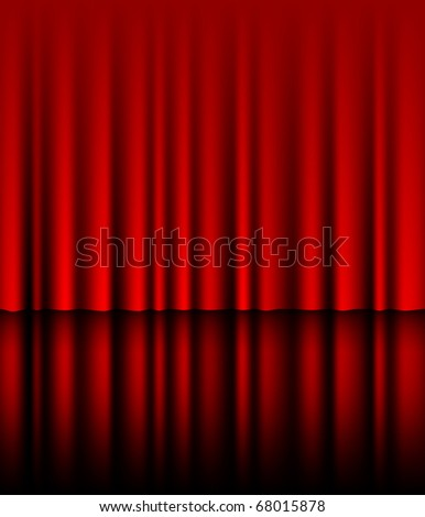 Reflected red drapes, eps10 vector - stock vector