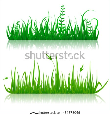 Reflected vector grass pattern - stock vector