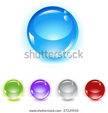 reflecting spheres vector icon set