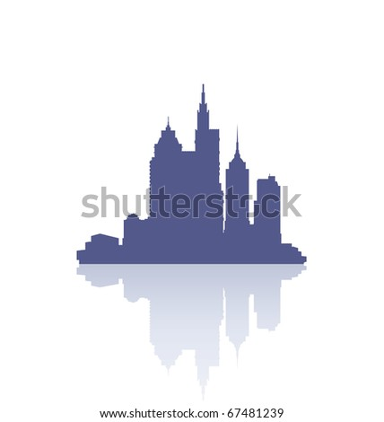 reflection of the skyline of city buildings - stock vector