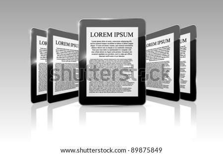 Reflection vector template for your text as tablet computer