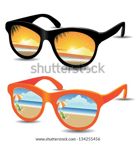 Reflective sunglasses with beach sunrise/sunset and sunny day. EPS 8 vector, grouped for easy editing. No open shapes or paths. - stock vector