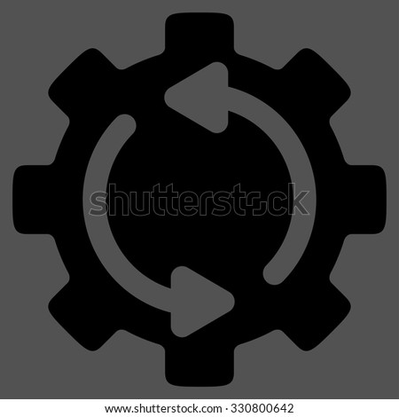 Refresh Engine vector icon. Style is flat symbol, black color, rounded angles, gray background. - stock vector