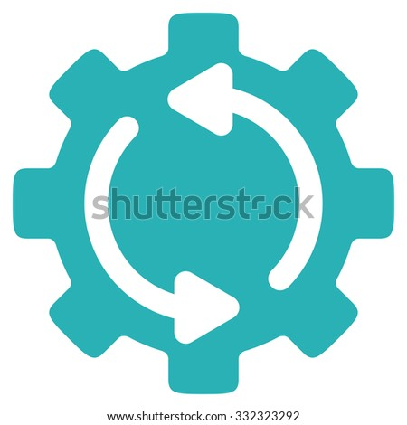 Refresh Engine vector icon. Style is flat symbol, cyan color, rounded angles, white background. - stock vector