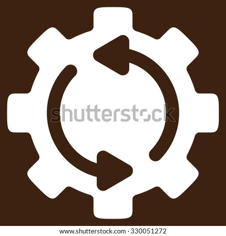 Refresh Engine vector icon. Style is flat symbol, white color, rounded angles, brown background. - stock vector