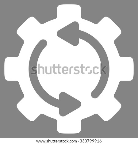 Refresh Engine vector icon. Style is flat symbol, white color, rounded angles, gray background. - stock vector