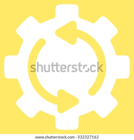 Refresh Engine vector icon. Style is flat symbol, white color, rounded angles, yellow background. - stock vector
