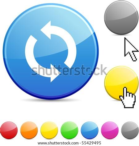 Refresh glossy vibrant round icon. - stock vector