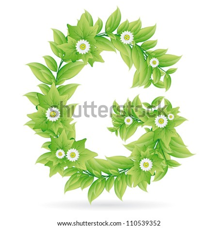 Refresh green label icon with leaves - stock vector