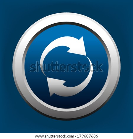 Refresh Reload Rotation Blue Button - stock vector