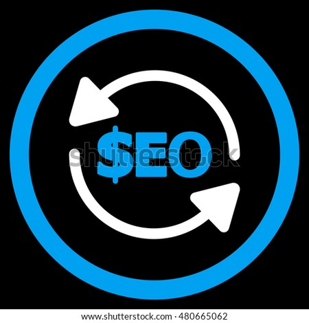 Refresh Seo rounded icon. Vector illustration style is flat iconic bicolor symbol, blue and white colors, black background.