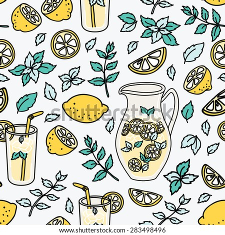 Refreshing seamless pattern with lemonade. Summer lemon and mint! - stock vector