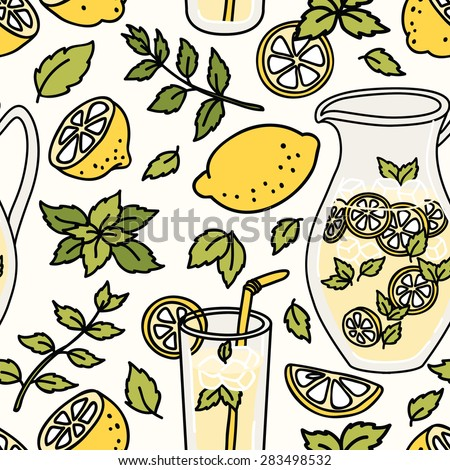 Refreshing summer seamless pattern with lemonade. Lemon and mint! Vector background - stock vector