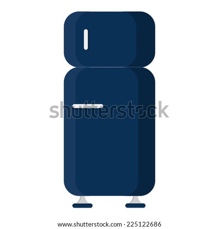 Refrigerator closed. Front view of a blue refrigerator closed. Isolated on a white background.  - stock vector