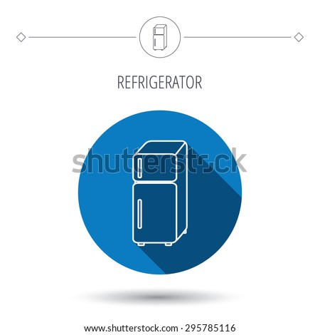 Refrigerator icon. Fridge sign. Blue flat circle button. Linear icon with shadow. Vector - stock vector