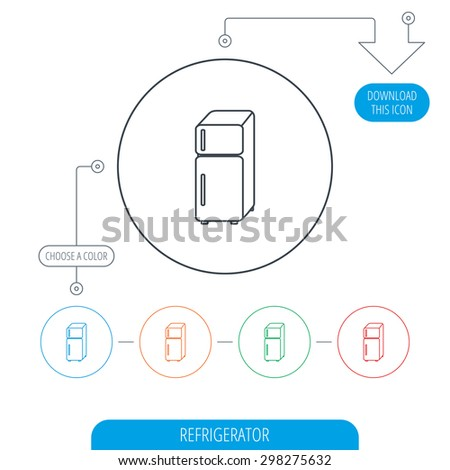 Refrigerator icon. Fridge sign. Line circle buttons. Download arrow symbol. Vector - stock vector