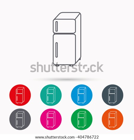 Refrigerator icon. Fridge sign. Linear icons in circles on white background. - stock vector