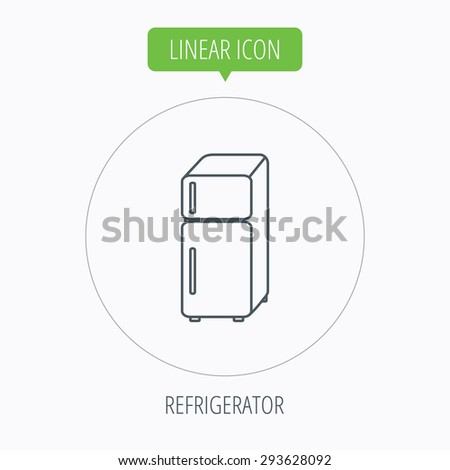 Refrigerator icon. Fridge sign. Linear outline circle button. Vector - stock vector