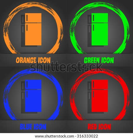 Refrigerator icon sign. Fashionable modern style. In the orange, green, blue, red design. Vector illustration - stock vector