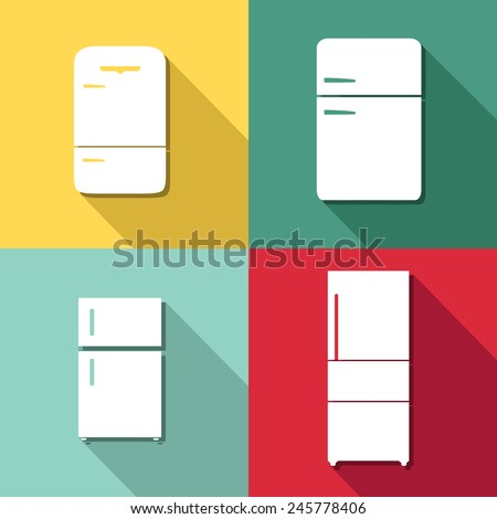 Refrigerator icons set great for any use. Vector EPS10.