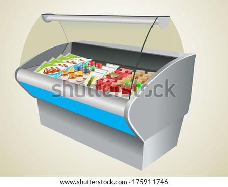 refrigerator in a shop - stock vector