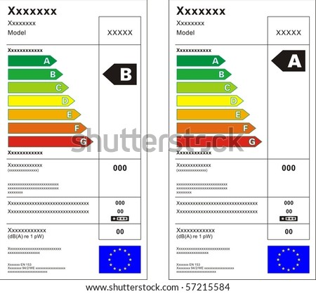 Refrigerator machine energy rating graph label in vector. - stock vector
