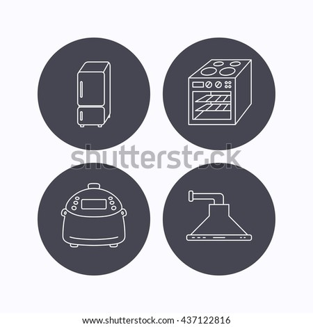 Refrigerator, multicooker and oven icons. Kitchen hood linear sign. Flat icons in circle buttons on white background. Vector - stock vector