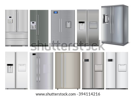 Refrigerator. Set of different models. Vector illustration isolated on white background - stock vector