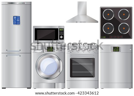 Refrigerator, washing machine, gas cooker, extractor hood, dishwasher, microwave, ceramic hob. Home appliances. Vector Image. - stock vector