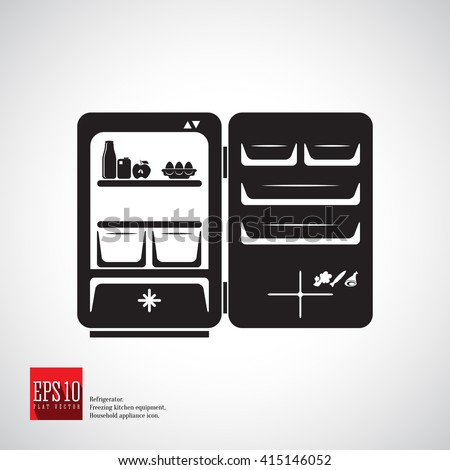 Refrigerator with one compartment and freezer with door open and compartment for bottles. Refrigerator with food. Kitchen appliance. Household equipment. Detailed icon kitchen appliance refrigerator. - stock vector