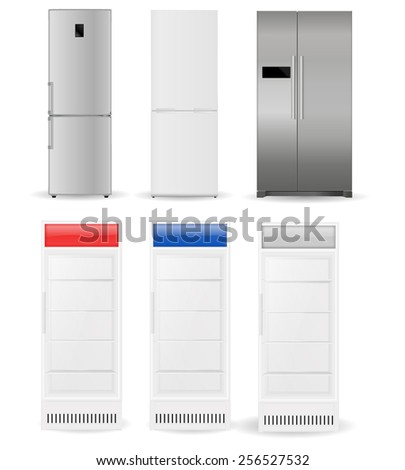 Refrigerators: silver, white, with two doors and glass doors  - vector drawing isolated - stock vector
