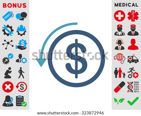Refund vector icon. Style is bicolor flat symbol, cyan and blue colors, rounded angles, white background. - stock vector
