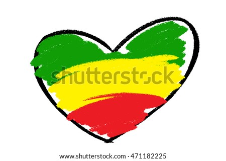 Reggae Concept Green Yellow Red Color In Brush Style Heart Shape For Background