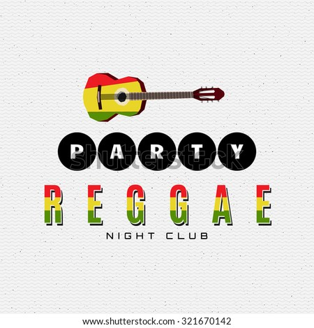 Reggae party insignia  and labels can be used for design, invitations, flyers, banners Site - stock vector