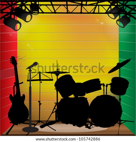 Reggae stage background with instrument - stock vector
