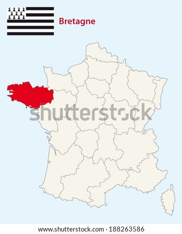 region brittany map with flag - stock vector
