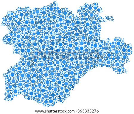 Region of Castile and Leon - Spain - in a mosaic of blue bubbles - stock vector